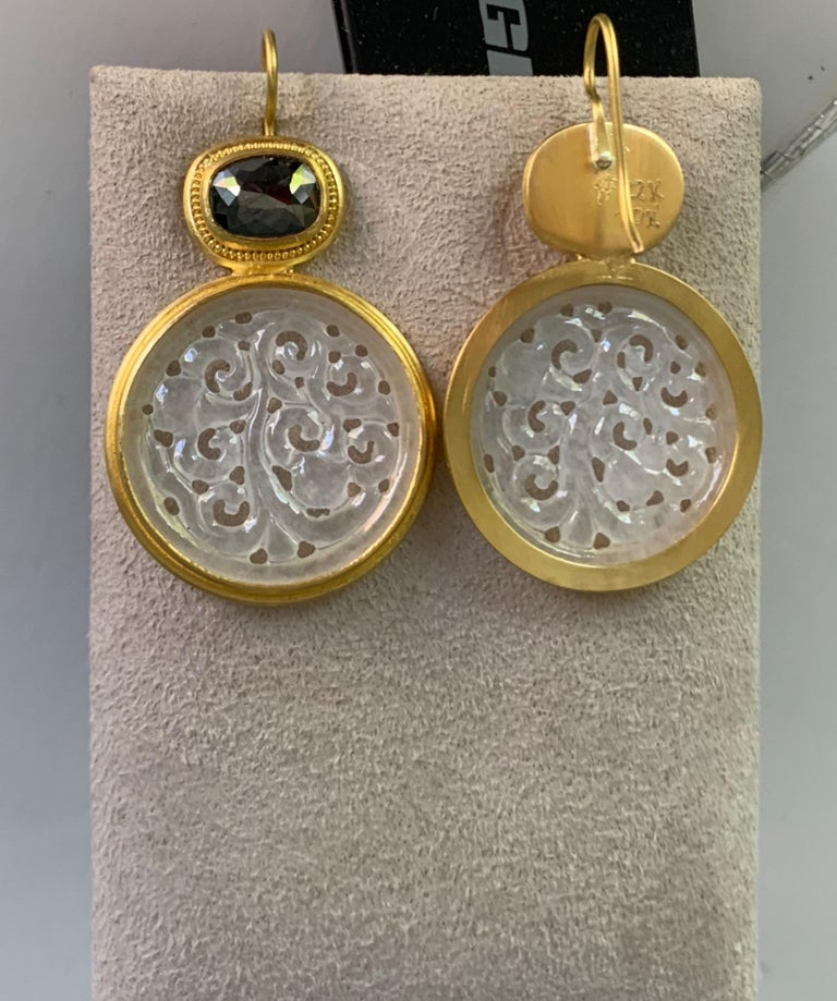 Rose Cut Black Diamond and Carved Jadeite Earrings in 22 and 20 Karat Gold