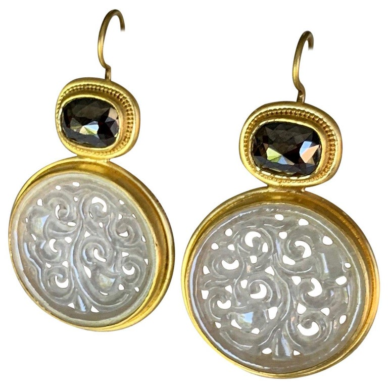 Contemporary Black Diamond and Carved Jadeite Earrings in 22 and 20 Karat Gold