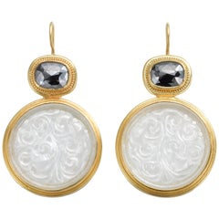 Black Diamond and Carved Jadeite Earrings in 22 and 20 Karat Gold