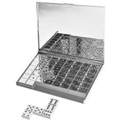 """Black Diamond and Pearl """"Domino"""" Draw Game Manufactured in 925 Solid Silver"""