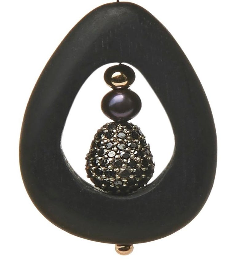 Contemporary Mckenzie Liautaud Black Diamond and Pearl Hoops with 14K Gold For Sale