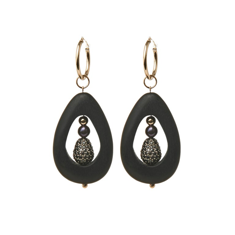 Mckenzie Liautaud Black Diamond and Pearl Hoops with 14K Gold For Sale