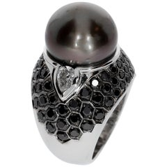 Chatila Black Diamond and Pearl Ring