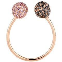 Black Diamond and Pink Sapphire Toi Moi Ring