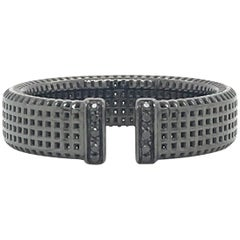 Black Diamond and Rhodium Black Gold 18 Karat Men Ring