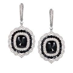 Manpriya B Black Cushion Rose Cut White Diamond 18K Gold Dangle Drop Earrings