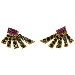 Black Diamond and Rubellite Angular Fan Earrings