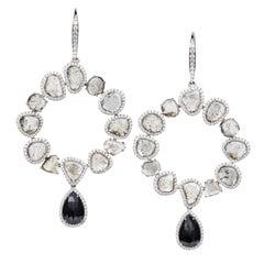 Manpriya B Slice and Black Diamond 18K Gold Diva Hoop Dangle Earrings