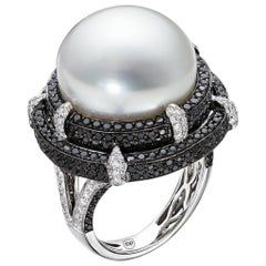 Black Diamond and South Sea Pearl Set in 18 Karat White Gold