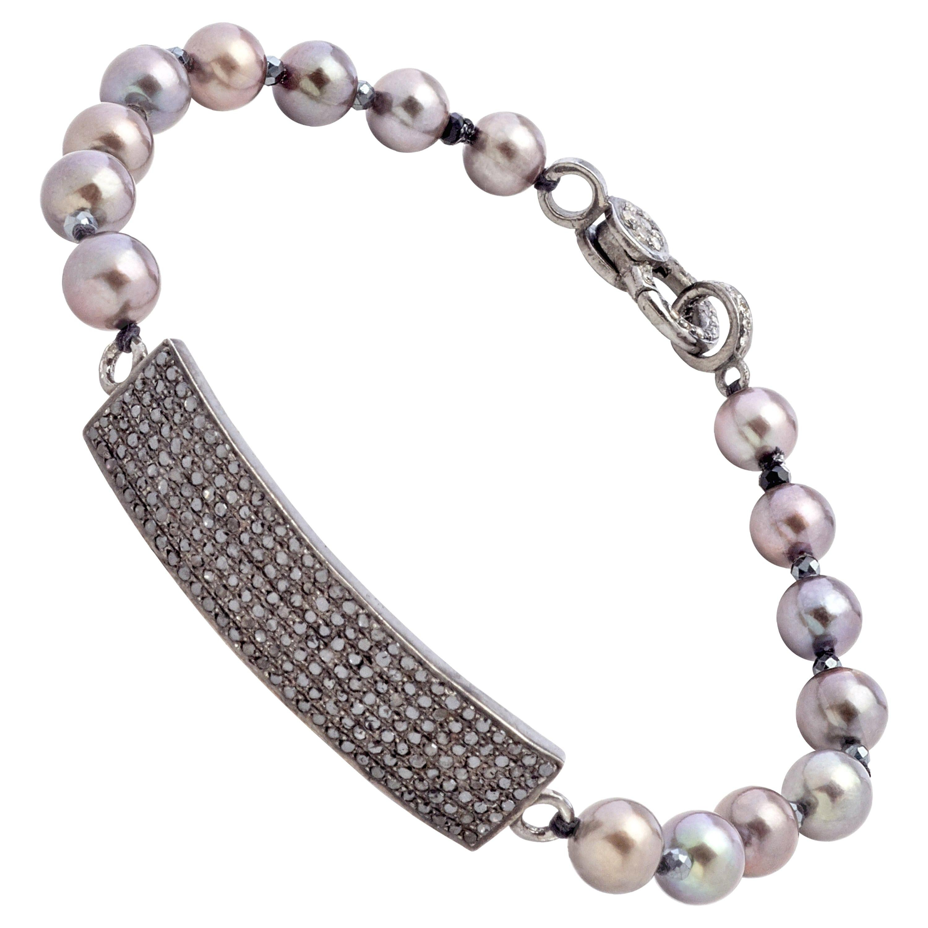 Diamond Sterling Silver Bar Bracelet with Gray Color Akoya Pearls