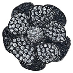 Black Diamond and White Diamond Flower Cocktail Ring