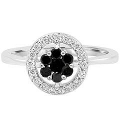 Black Diamond and White Diamond Halo Gold Fashion Cocktail Ring
