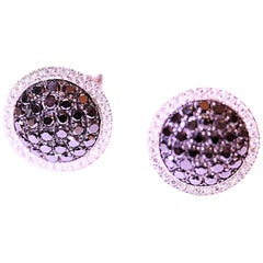 Black Diamond and White Diamond Stud Earrings 1.20 Carat 14 Karat by LeVian