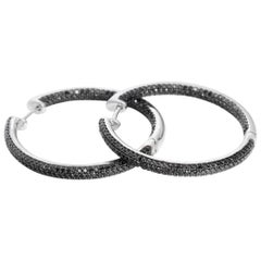 Black Diamond and White Gold Inside-Out Hoop Earrings