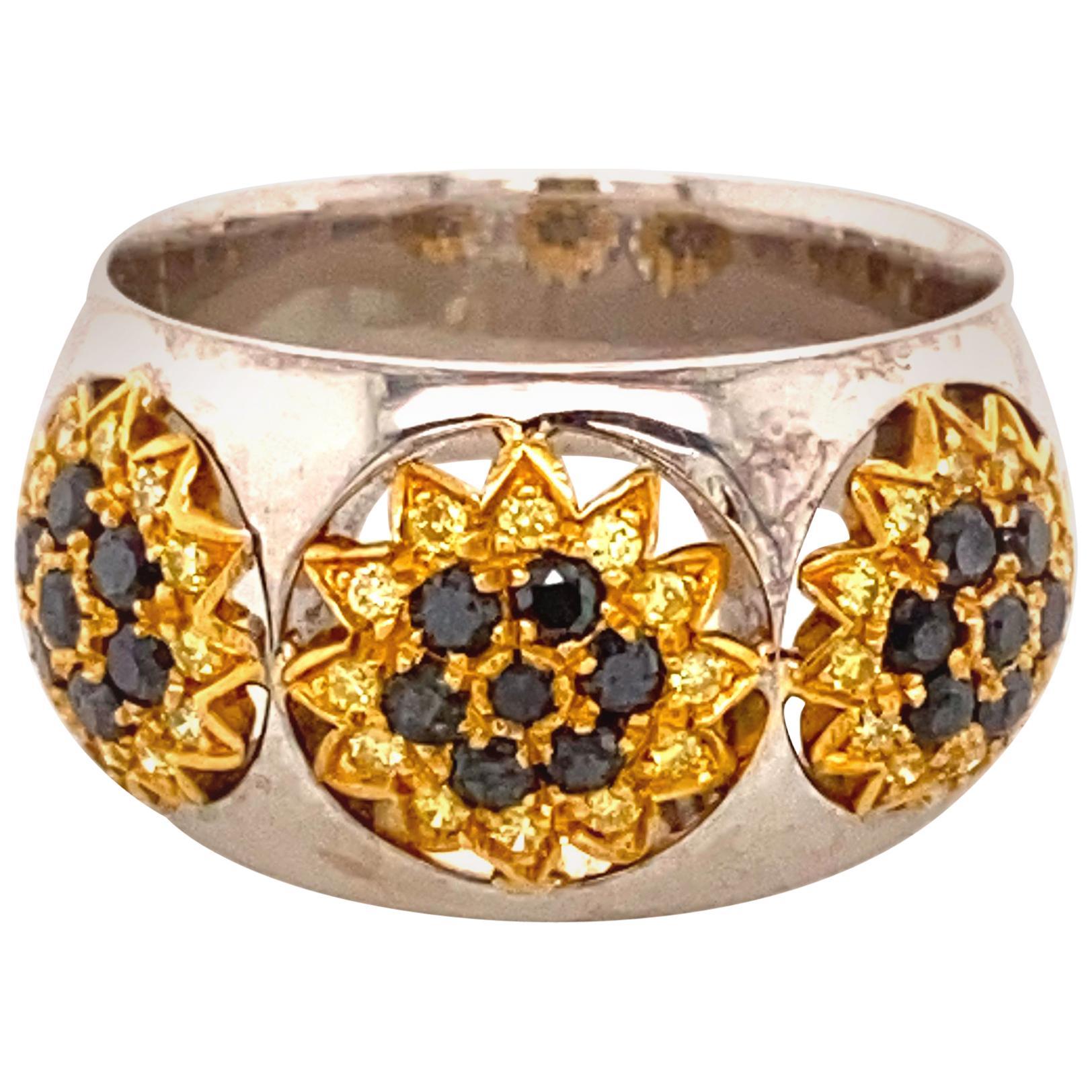 "Black Diamond and Yellow Diamond 18 Karat/24 Karat Gold ""Sunflower"" Ring"