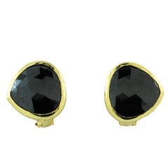 Black Diamond and Yellow Gold Stud Earrings