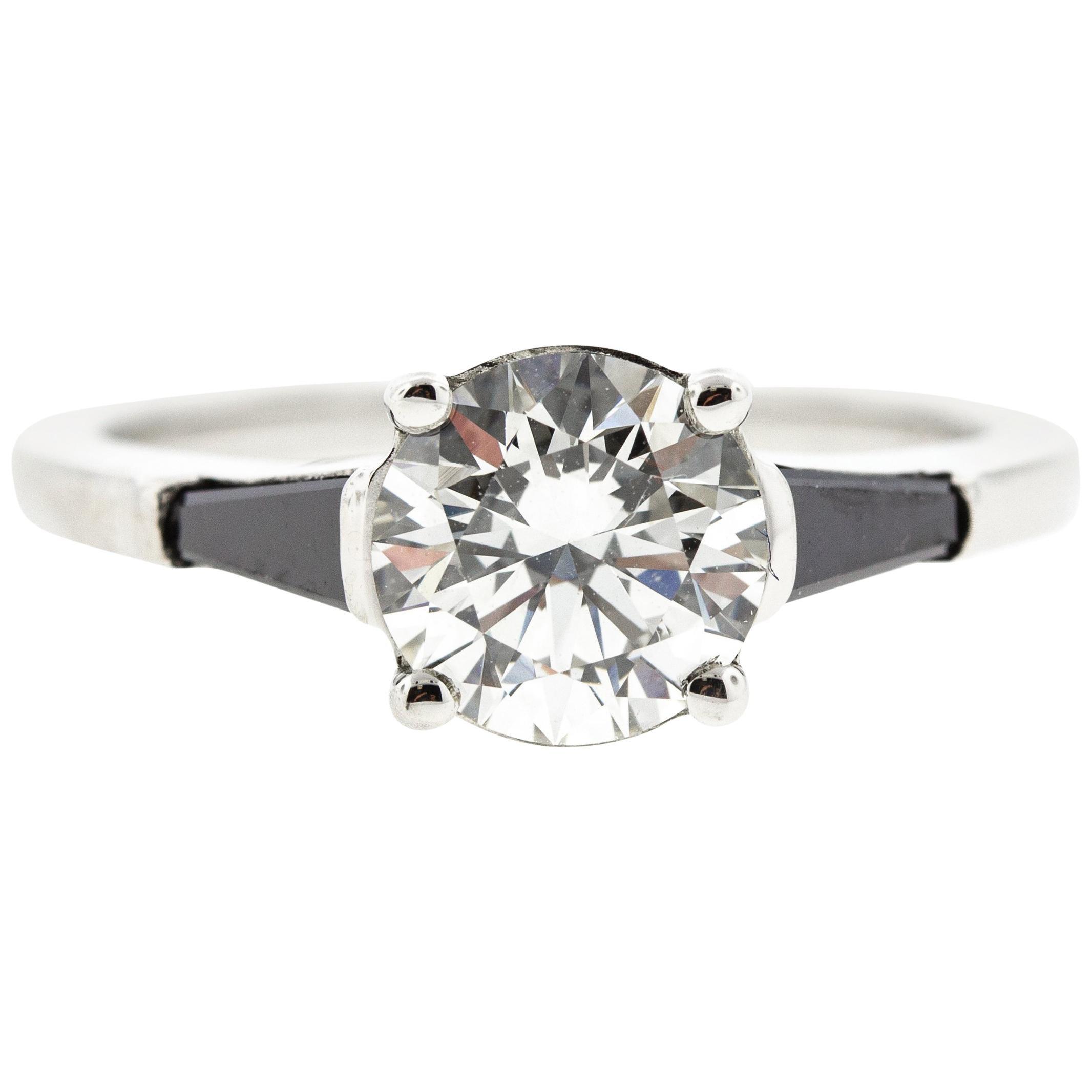 Black Diamond Baguette Engagement Ring GIA