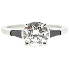 Black Diamond Baguette Engagement Ring GIA