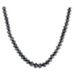 Black Diamond Beaded White Gold Necklace