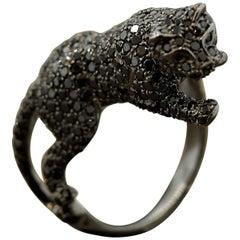 Black Diamond Black Panther Gold Ring