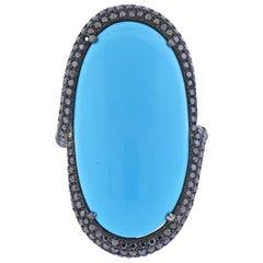 Black Diamond Blue Stone Gold Cocktail Ring
