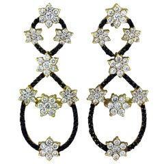 Black Diamond Chandelier Earrings with White Gold and Diamonds Stambolian