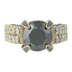 Black Diamond Cocktail Ring 14 Karat Gold Round Solitaire White Accents 5.13ct