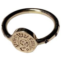 Black Diamond Crest Signet Skull Ring Memento Mori Style Bronze J Dauphin