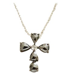 Black Diamond Cross in 18 Karat 1.93 Carat