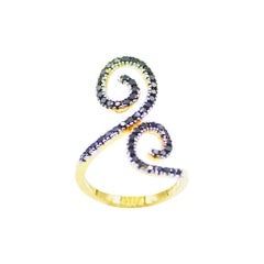 Black Diamond Double Spiral Statement Ring in 14 Karat Yellow Gold