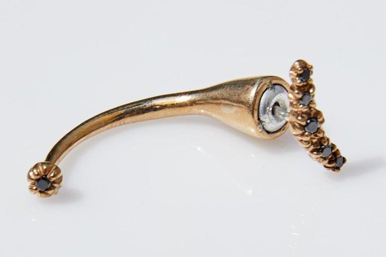 Contemporary Black Diamond Earring Piercing J DAUPHIN For Sale