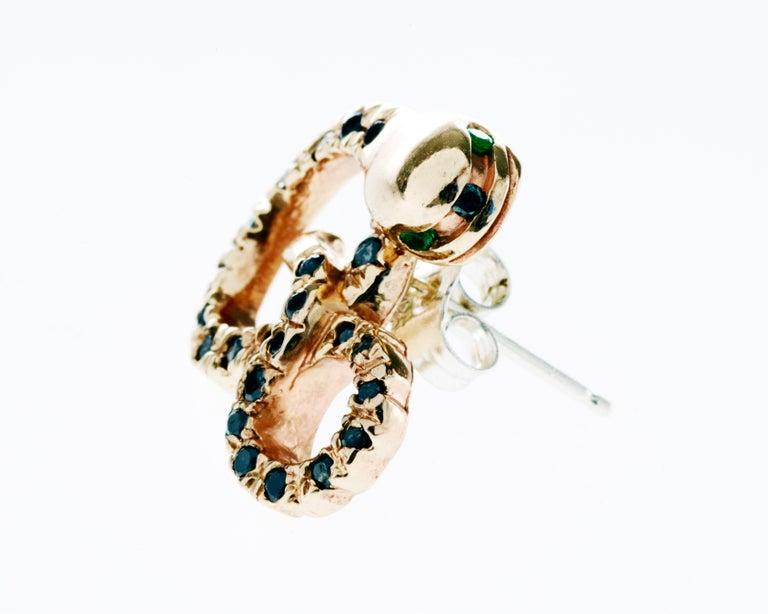 Round Cut Black Diamond Emerald Gold Snake Earring Bronze J Dauphin For Sale