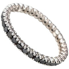 Black Diamond Eternity Band in 18 Karat White Gold