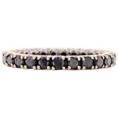 Black Diamond Eternity Band Ring 14 Karat White Gold