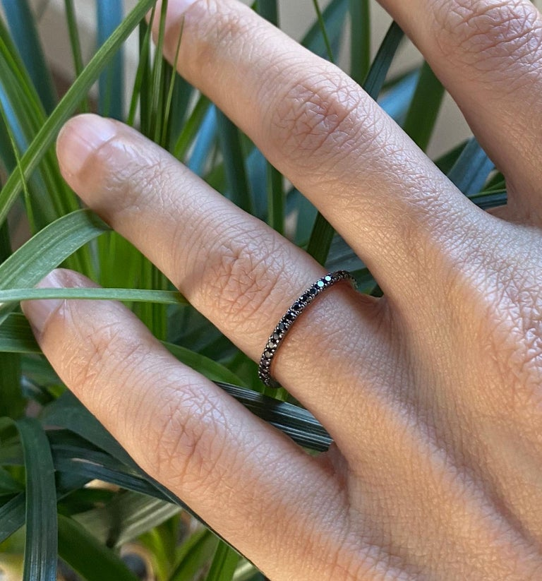Contemporary Black Diamond Eternity Ring in Rose Gold For Sale
