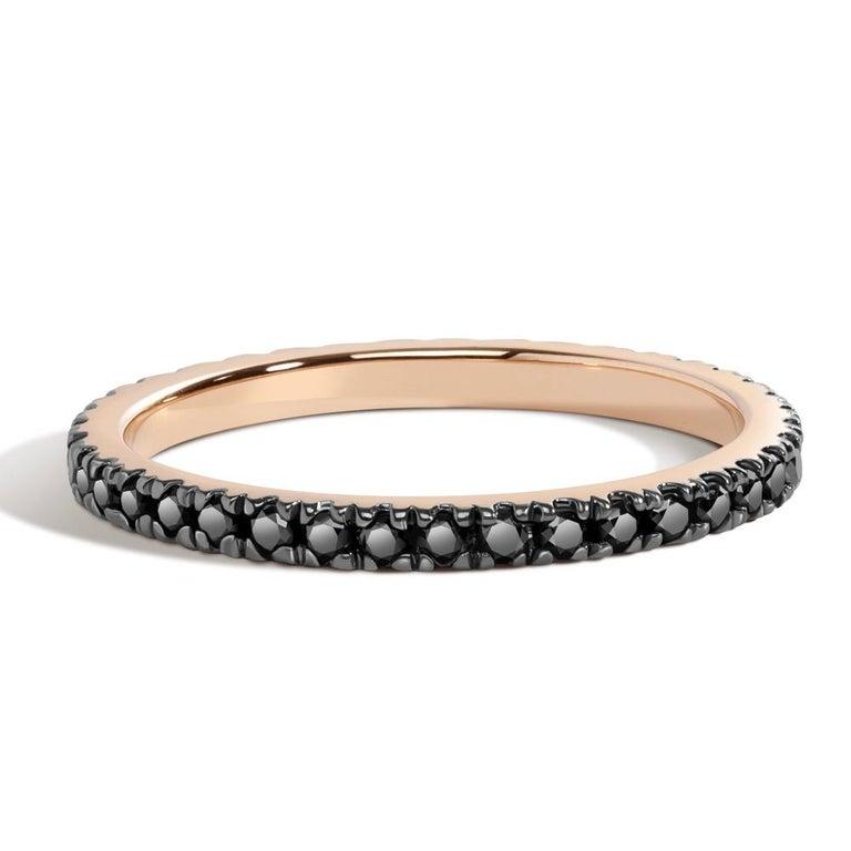 Brilliant Cut Black Diamond Eternity Ring in Rose Gold For Sale