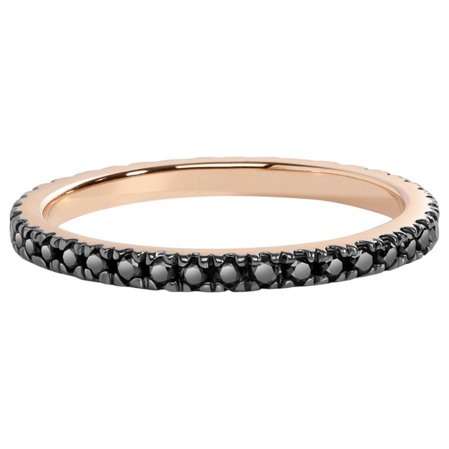 Black Diamond Eternity Ring in Rose Gold