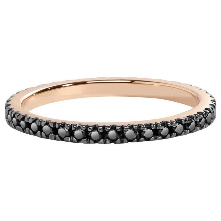 Black Diamond Eternity Ring in Rose Gold For Sale