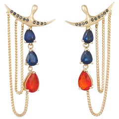 Black Diamond, Fire Opal and Blue Sapphire Contemporary Earrings