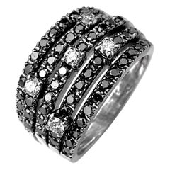 Black Diamond Five-Row Ring with White Diamond Accents