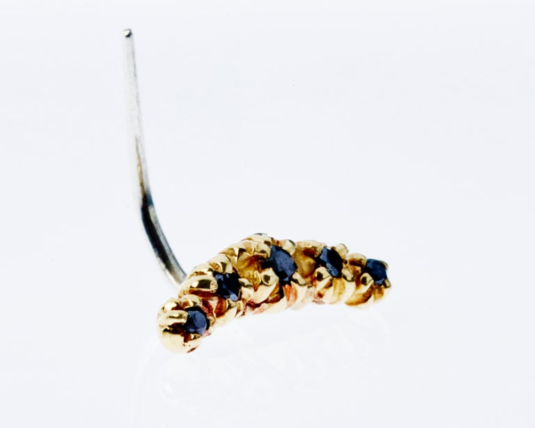 Black Diamond Gold Earring Crescent Moon J Dauphin In New Condition For Sale In Los Angeles, CA