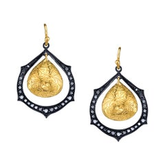 Black Diamond & Gold Engraved Drop Earrings