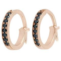 Black Diamond Gold Huggie Hoop Earrings