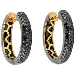 Black Diamond Gold Huggie Hoop Earrings