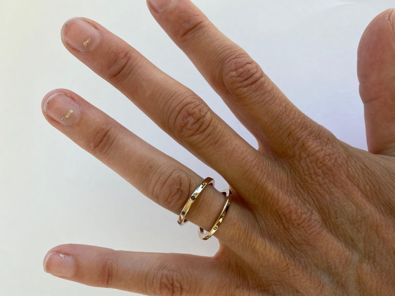 Brilliant Cut Black Diamond Green Sapphire Ring Cocktail Ring Bronze Onesie J Dauphin For Sale