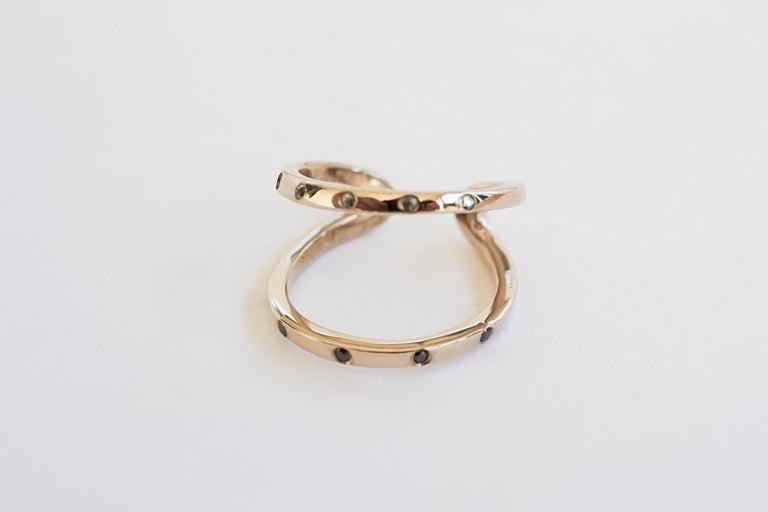 Women's Black Diamond Green Sapphire Ring Cocktail Ring Bronze Onesie J Dauphin For Sale
