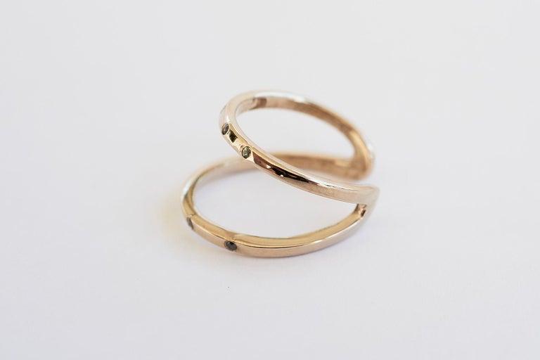 Black Diamond Green Sapphire Ring Cocktail Ring Bronze Onesie J Dauphin For Sale 1