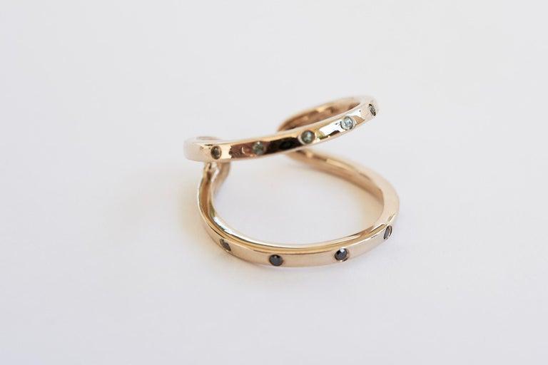Black Diamond Green Sapphire Ring Cocktail Ring Bronze Onesie J Dauphin For Sale 2