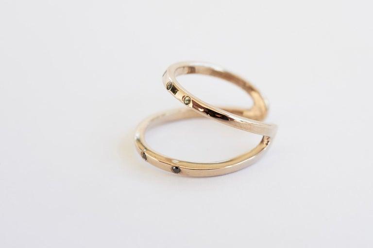 Black Diamond Green Sapphire Ring Cocktail Ring Bronze Onesie J Dauphin For Sale 3