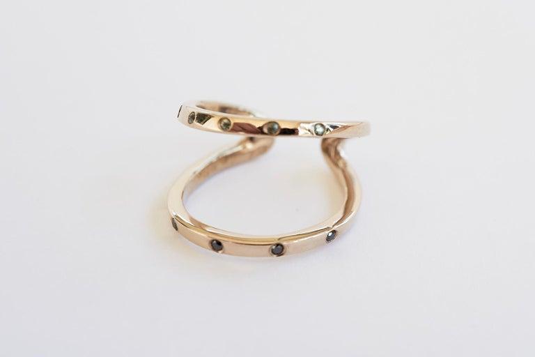 Black Diamond Green Sapphire Ring Cocktail Ring Bronze Onesie J Dauphin For Sale 4